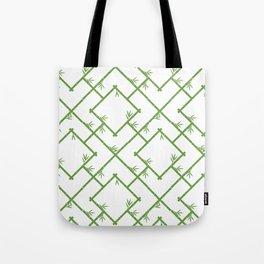 Bamboo Chinoiserie Lattice in White + Green Tote Bag