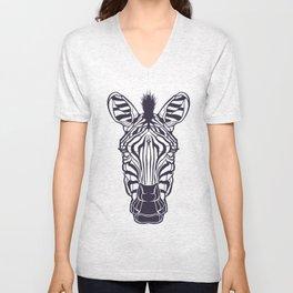 Zebra Head Illustration Unisex V-Neck