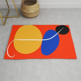 Red Zen Minimal Abstract Rug