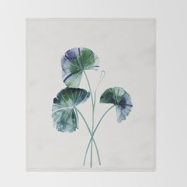 Water lily leaves Throw Blanket