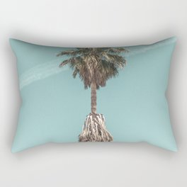 Malibu Beach Palm // California Beach Vibes Teal Ocean Sky Jetstream Photograph Rectangular Pillow