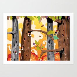 Woodpecker Pecking trees in the Forest  Art Print