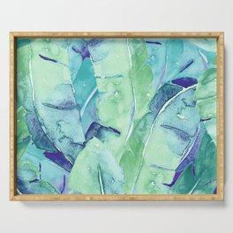 Banana Tree Leaves | Tropical  BLUE Watercolor Serving Tray