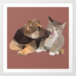 Low Poly German Shepard Puppy and Cat Art Print
