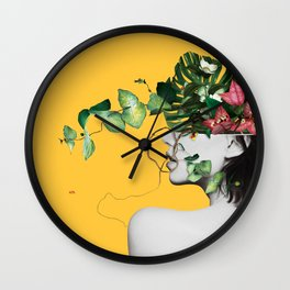 Lady Flowers Wall Clock