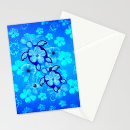 Blue Tropical Flowers And Honu Turtles Stationery Cards