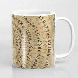 Elder Futhark Spiral Art on Wooden texture Coffee Mug