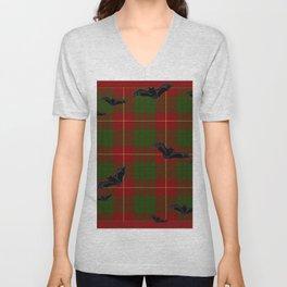 Scottish Tartan Pattern-Black Gothic Bats Art Design Unisex V-Neck
