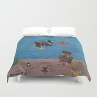 scuba Duvet Covers featuring Scuba Scottie by Mary Louise Simmons