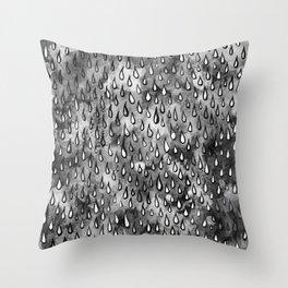 Grey Raindrops Throw Pillow