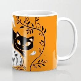 Spooky Cat - Mid Century Vintage Orange Coffee Mug
