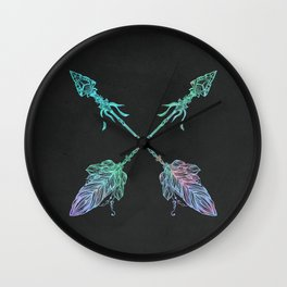 Tribals Arrows Turquoise on Gray Black Wall Clock