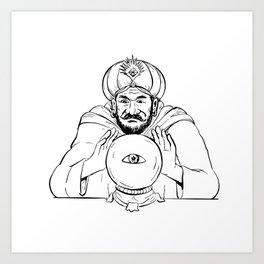 Fortune Teller Crystal Ball Drawing Art Print