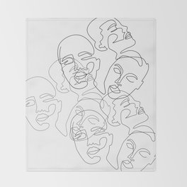 Lined Face Sketches Throw Blanket
