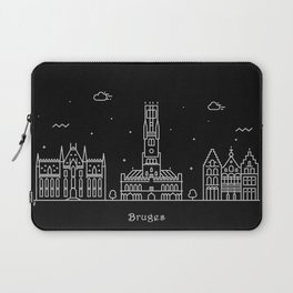 Bruges Minimal Nightscape / Skyline Drawing Laptop Sleeve
