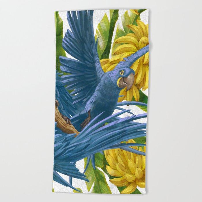 Hyacinth macaws and bananas Stravaganza. Beach Towel