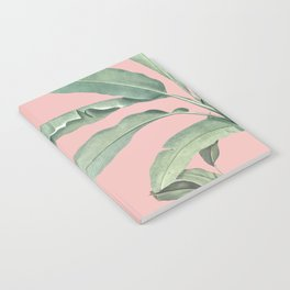 Green leaves on rose ink Notebook