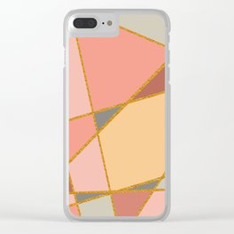 Rose Peach And Grey With Gold Trim Geo Clear iPhone Case