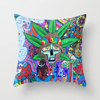 hippie Throw Pillows featuring Hippie by Allie_gator