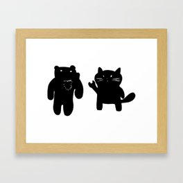 Bear and Cat Framed Art Print