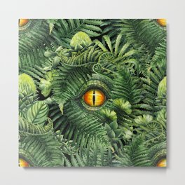 Watercolor dinosaur eye and prehistoric plants Metal Print