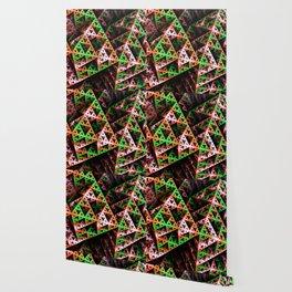 Pink & Green 3D Sierpinski Triangle Fractal Art Print Wallpaper