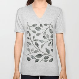 Monochrome Leaves Unisex V-Neck