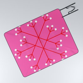Mod Snowflake Pink Picnic Blanket