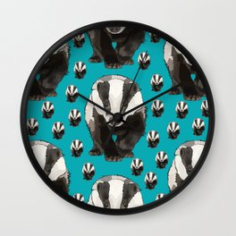 Badger Pattern on Teal / Turquise Wall Clock