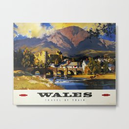 Wales Travel by Train Travel Poster Metal Print