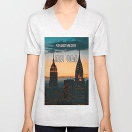 Fashion Begins in New York Unisex V-Neck