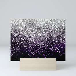 Dark Night Purple Black Silver Glitter #1 #shiny #decor #art #society6 Mini Art Print