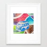vw bus Framed Art Prints featuring VW Bus Campervan by Carrie at Dendryad Art