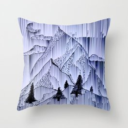 a winter night at the snowed mountains Throw Pillow