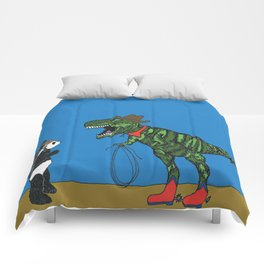 Dinosaur and panda play cowboys and Indians Comforters