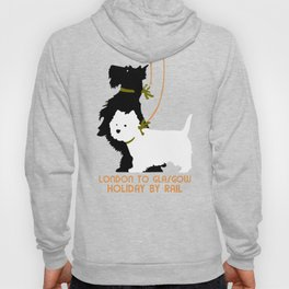 Retro London and Glasgow by train, dogs terriers Hoody