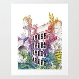 Water - Rainbow City - Watercolor Painting Art Print