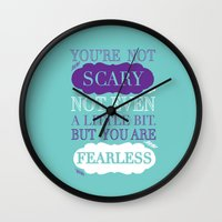 monster inc Wall Clocks featuring Monsters Inc. by Nikita Gill