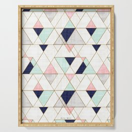 Mod Triangles - Navy Blush Mint Serving Tray