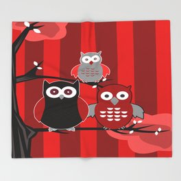 Red Owls Throw Blanket