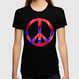 Patriotic Peace Sign Tie Dye Watercolor on Blue T-shirt
