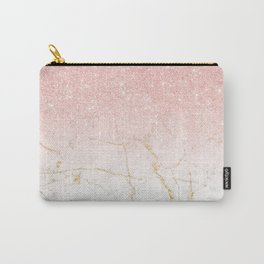Rose Gold Glitter and gold white Marble Carry-All Pouch