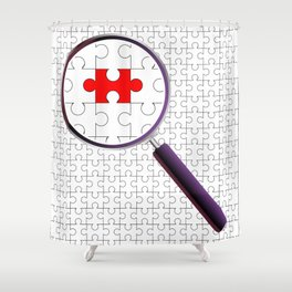 Odd Piece Magnifying Glass Shower Curtain