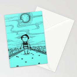Moon night and coins: Moon and Six pences Stationery Cards