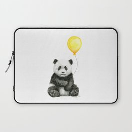 Panda Watercolor Animal with Yellow Balloon Nursery Baby Animals Laptop Sleeve