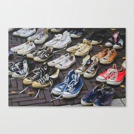 Sneakers shoes at a flea market Canvas Print