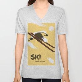 "Ski ""Book today"" . Vintage style travel poster Unisex V-Neck"