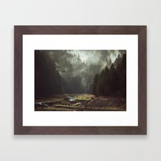 Foggy Forest Creek Framed Art Print