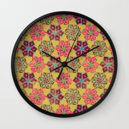 Origami Flower - mustard Wall Clock