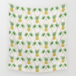 Exotic tropical  pattern with palm branches and pineapples . Wall Tapestry